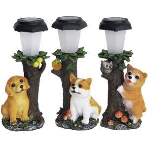 犬の仲間たちソーラーライト3個組柴犬・レトリバー・コーギー - 拡大画像