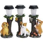犬の仲間たちソーラーライト3個組柴犬・レトリバー・コーギー
