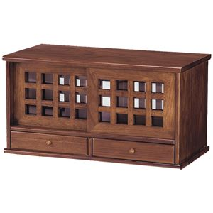 天然木格子両面引き戸カウンター上収納庫 60cm幅(引出付き)