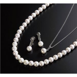 特選本真珠3点セット(ネックレス・ペンダント・イヤリング) ホワイト系 - 拡大画像