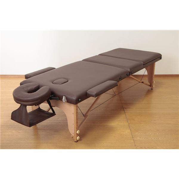 木製収納式マッサージ施術ベッド ブラウン