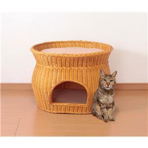 天然籐製キャットハウス/猫ハウス 【2段ベッドタイプ】 クッションシート付き カバーのみ手洗い可