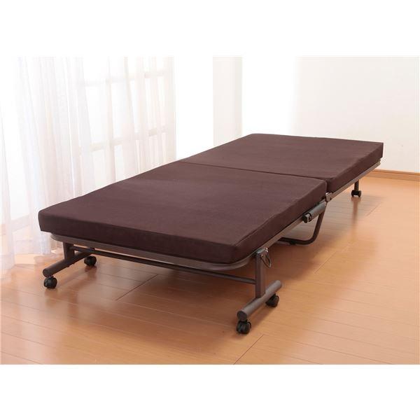 極厚高反発収納式リクライニングベッドシングル ブラウン メッシュ仕様