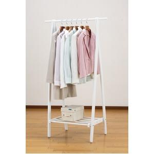 折りたたみハンガーラック(コートハンガー/衣類収納) 木製 幅80cm 収納棚付き 省スペース ホワイト(白) - 拡大画像