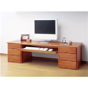 木製文机(スライドテーブル付き)両袖 - 拡大画像