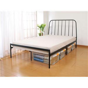 頑丈設計シンプルベッド セミダブル ブラック