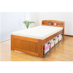 天然木棚付すのこベッド(高さ調節付) ダブル