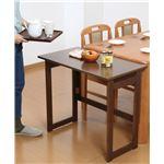 天然木折りたたみテーブル高さ69cm ブラウン