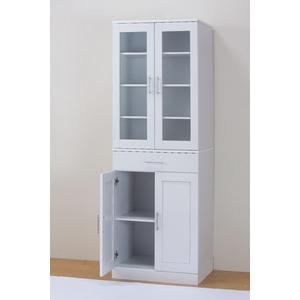 【メッテ】たっぷり奥行 キッチン収納シリーズ カップボード ホワイト