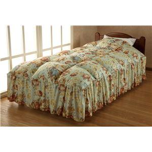 防ダニ洗えるベッド用羽根掛布団グリーン シングル