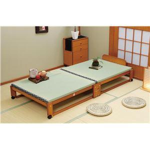 らくらく折りたたみ式 キャスター付き 国産 畳ベッド シングル 幅94.5cm (フレームのみ) 日本製ベッドフレーム 【中居木工】