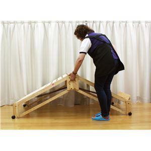 らくらく折りたたみ式 キャスター付き 国産 すのこベッド (桧) ワイド 幅106.5cm (フレームのみ) 日本製ベッドフレーム 【中居木工】