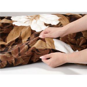 高級ヘムレス合わせ毛布布団/寝具 【ブラウン】 140cm×200cm テイジンウォーマル使用 手提げ袋入り 日本製