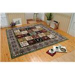 多色織格子柄シルクタッチカーペット 正方形の画像