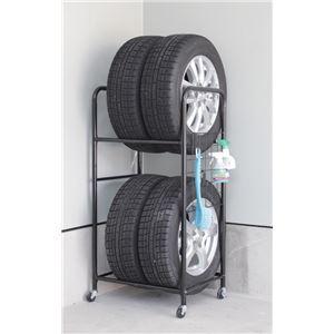 タイヤラック/タイヤ収納 【スリムタイプ】 幅57cm 耐荷重量120kg 撥水カバー キャスター付き 本体:スチール製 〔ガレージ 車庫〕