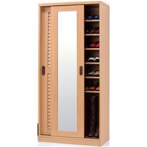 ミラー付きルーバー扉収納シューズボックスナチュラル 160cm高