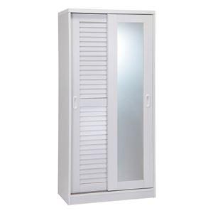 ミラー付きルーバー扉収納シューズボックスホワイト 160cm高