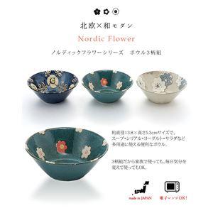 北欧風 ボウル/食器 【3柄組】 直径13.8×高さ5.3cm/1個 電子レンジ可 『ノルディックフラワーシリーズ』
