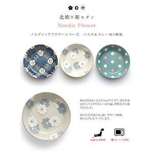 北欧風 パスタ&カレー皿/食器 【3柄組】 直径20.8×高さ4.3cm/1個 電子レンジ可 『ノルディックフラワーシリーズ』