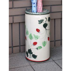 ハンドメイド陶器傘立てイチゴ柄