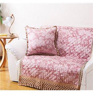 刺繍調キルトジャカード織 クッション ピンク