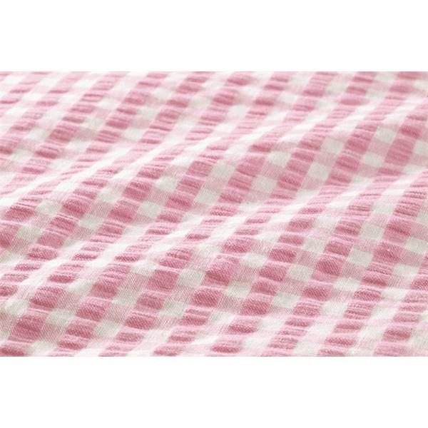 先染め綿サッカーボックスシーツ 同色2枚ピンク シングル