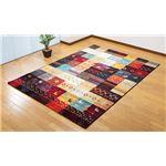 トルコ製 多色使いカーペット/ラグマット 【ギャベ柄 80×140cm】 ウィルトン織 パイル長さ:約9mmの画像