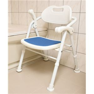 折りたたみ シャワーチェア/風呂椅子 【ホワイト×ブルー】 背もたれ・はね上げ式ひじ掛け付き 大きめ座面