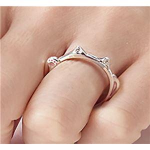 ダイヤモンド招き猫リング/指輪 【21号】 シルバー925 ダイヤモンド約0.02ct 日本製