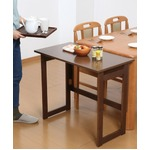 木製 折りたたみテーブル/補助机 【高さ69cm ブラウン】 幅80cm 木目調 【完成品】