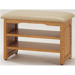 収納付き 玄関ベンチ/腰掛け椅子 【幅60cm】 木製 クッション座面 ガタつき防止付き