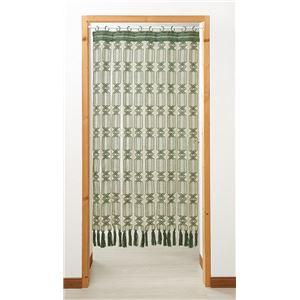 開閉式マクラメのれん 【グリーン 幅85cm×長さ170cm】 日本製 綿100% スチール製 伸縮ポール付き 〔廊下 玄関〕