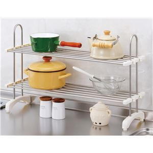 伸縮式 キッチン整理棚/キッチン収納 【幅50cm~83cm】 ステンレス製 棚板2枚付き 高さ調整可 〔台所〕