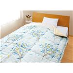 メキシコ綿入り 肌掛け布団 【ひより ブルー】 シングル 日本製 綿100% 〔ベッドルーム 寝室〕の画像