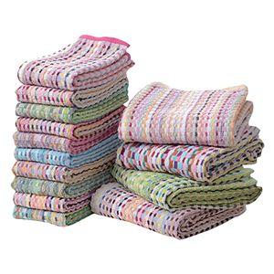 バスタオル&フェイスタオルセット【14枚セット色柄おまかせ】洗える綿100%『残糸使用エコタオル』