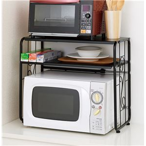伸縮式 二段レンジラック/キッチン収納 【幅43.5cm~65.5cm】 スチールフレーム 棚板2枚付き 耐荷重10kg/棚板1枚 S字フック対応