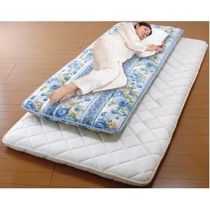 少し小さな軽量3層ボリューム敷布団【ブルー】シングル幅70cm重さ2.5kg日本製綿ポリエステル製〔寝室ベッドルーム〕