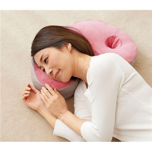 2WAY クッションまくら/枕 【幅42cm】 洗える 高反発&低反発 カバー付き ポリエステル ウレタン 〔寝室 ベッドルーム〕