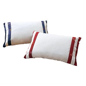 そば殻&ヒノキ 和枕/寝具 【エンジ+ブルー 2色組】 日本製 低めタイプ カバー付き 通気性 綿使用 〔ベッドルーム 寝室〕の画像1