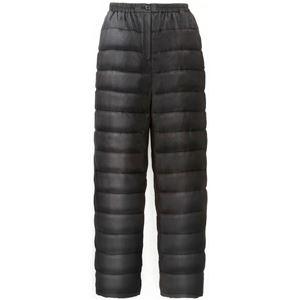 ふわふわダウンあったかパンツ【ブラックS-M】男女兼用タイプ両脇ポケット付き洗える〔防寒着冬支度寒さ対策〕