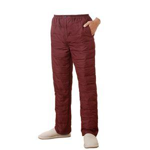 ふわふわダウンあったかパンツ【エンジS-M】男女兼用タイプ両脇ポケット付き洗える〔防寒着冬支度寒さ対策〕