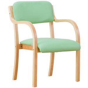 立ち座りサポートチェア/椅子 【グリーン 2脚組】 肘付き スタッキング可 張地:合成皮革/合皮 〔業務用 家庭用 オフィス〕