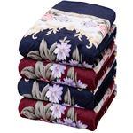 遠赤綿入り3層ボリュームマイヤー毛布シンク2色4枚組