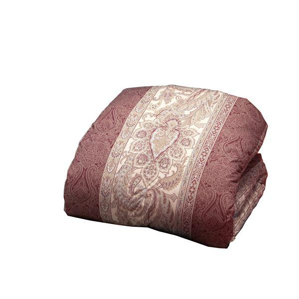 英国産ダウン&フェザー掛け布団/寝具 【シングルサイズ】 ペイズリーピンク 立体キルト加工