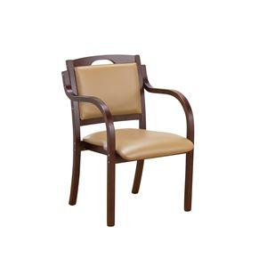 立ち座りサポートダイニングチェア/椅子 【ダークブラウン】 肘付き 張地:合成皮革/合皮 スタッキング可