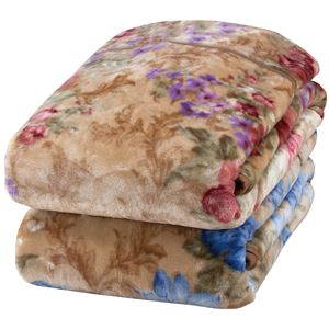 衿付き2枚合わせ毛布/寝具【2色組ピンク&ブルー】140×200cmヤード柄洗える『京都西川』〔ベッドルーム〕