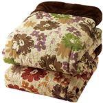 遠赤わた入り 毛布ふとん/寝具 2色組 【シングル】 グリーン&ブラウン 洗える 保温性 フランネル 〔ベッドルーム 寝室〕