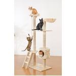 室内用 キャットタワー/ペット用品 【アイボリー】 幅79~94cm 耐荷重10kg 爪とぎ 寝場所付き 起毛 〔猫 ネコ〕