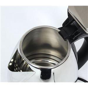 ステンレス製 電気ケトル/湯沸かしポット 【シルバー 約1.8L】 幅約22cm 空焚き防止 オートオフ機能付き 安全設計