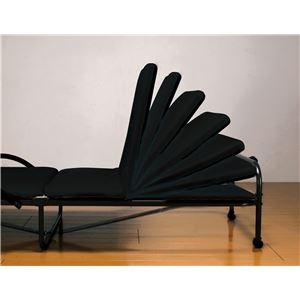 収納簡単 折りたたみベッド 【ブラック】 セミシングル リクライニング式 キャスター 取っ手付き スチール 〔寝室〕